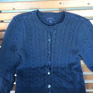 Lands End Cable Knit Cardigan Sweater size 10/12